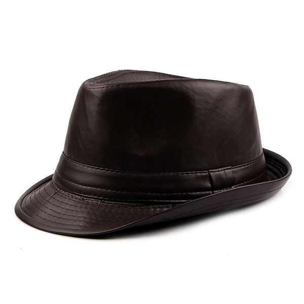 Men Vintage Artificial Leather Bucket Hats