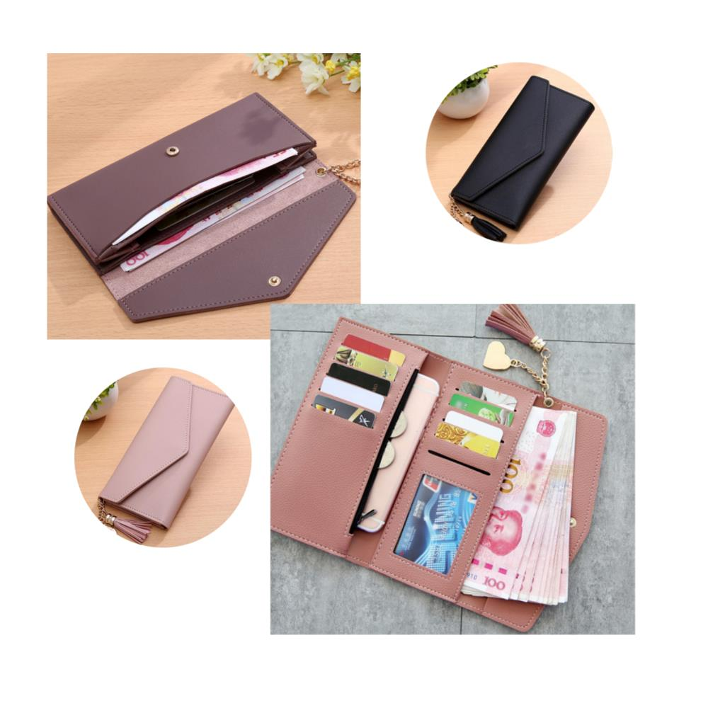 Specifications: Colors: Dark Green, Light Grey, Pink, Black Material: PU Leather Size: about 19x9cm [Conversion: 1 cm=0.3937 inch, 1 inch=2.54 cm] Feature: -It can store phone, ID card, credit card, bank card, cash, coin, etc. -You can simply hold it on h #purse