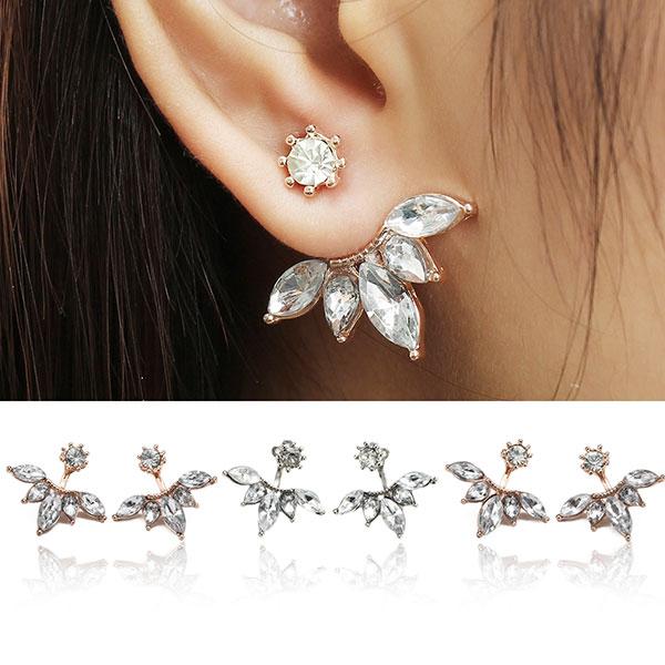 Купить элегантный серебряный позолоченный циркон лист уха Стад Серьги для женщин