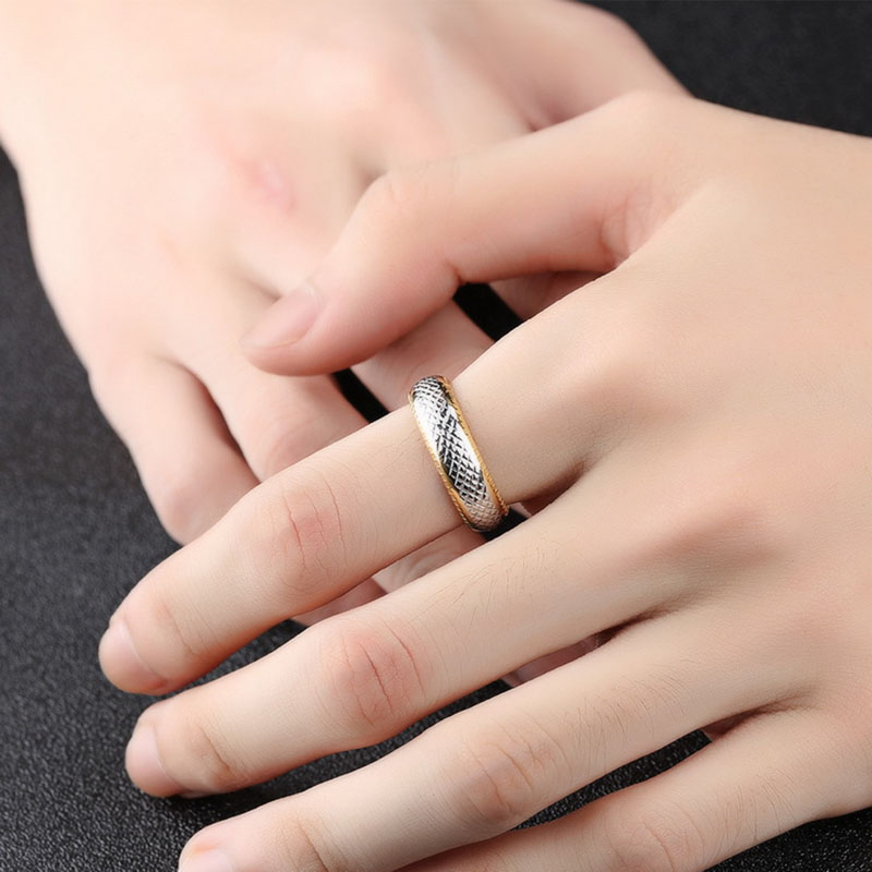 Punk Gold Color Stainless Steel Finger Ring for Men
