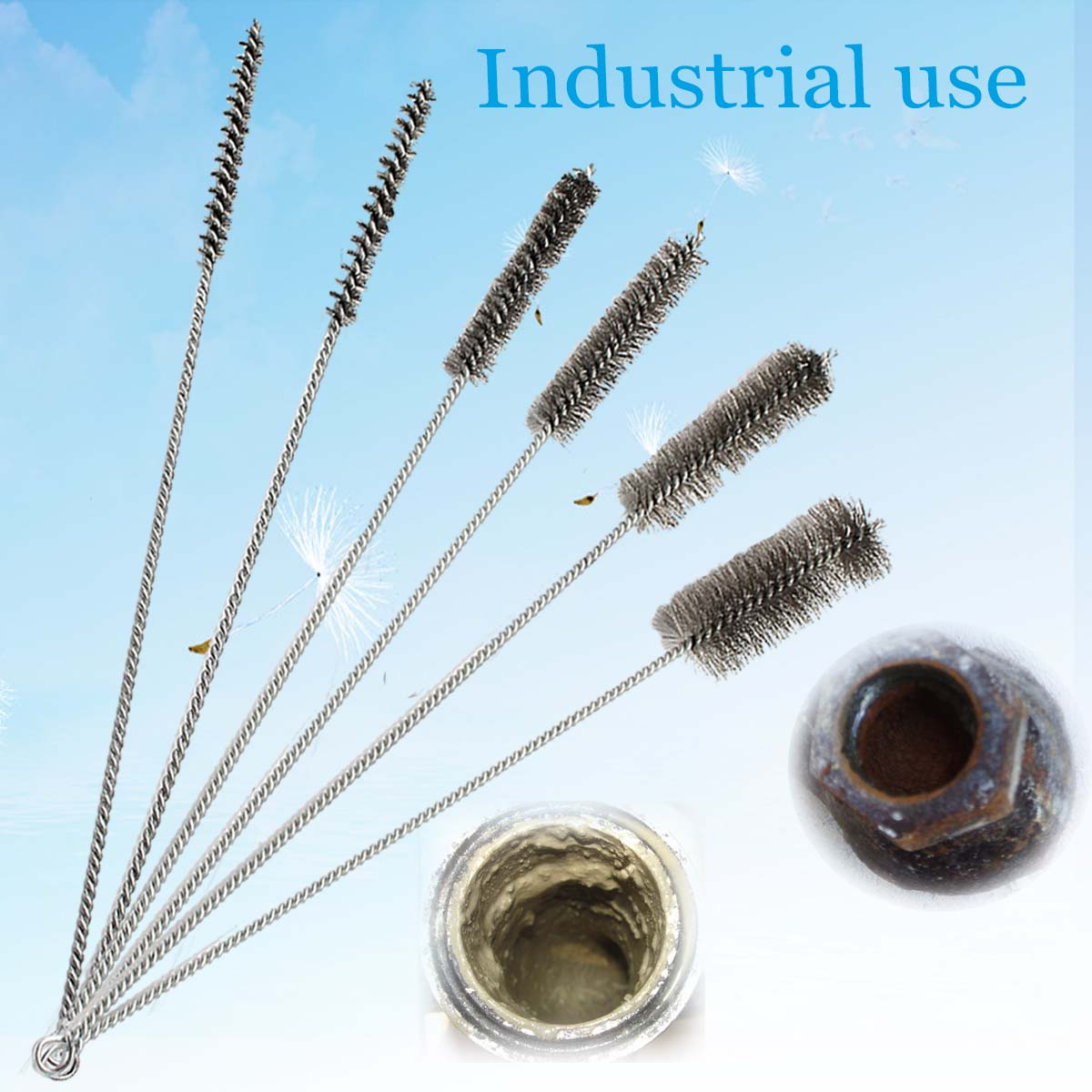 6Pcs 16 Inch Steel Round Tube Wire Gun Cleaning Brushes 3/8-1-1/2 Inch Brushes Bottle