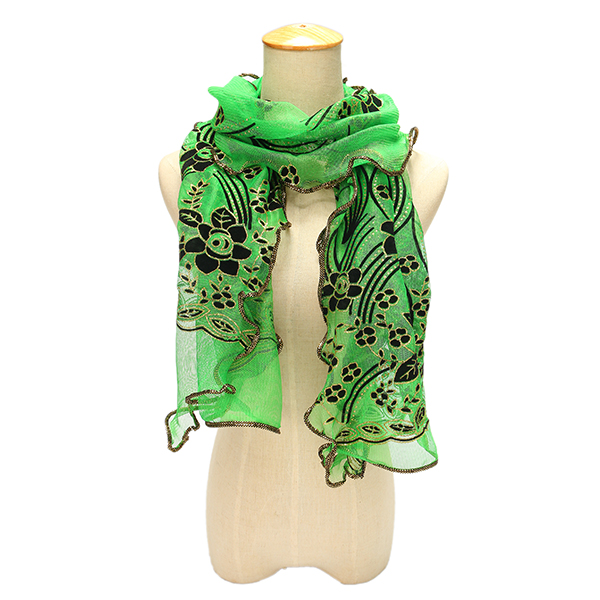 Women Chiffon Silk Scarf Flocking Rose Dot Scarves Girls Long Soft Shawl Wrap Scarves Autumn Winter