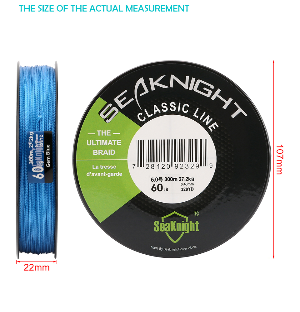 SeaKnight L-300M-CL Fishing Line New Classic 300M Super Strong Braid PE Braided 6-80LB 4 Strands