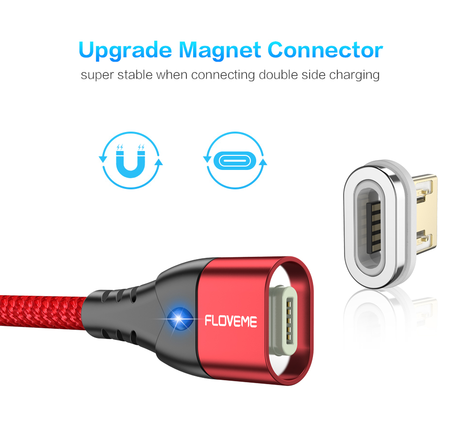 FLOVEME 3A Type C LED Magnetic Braided Fast Charging Data Cable 1M For Smartphone iPad Pro Tablet