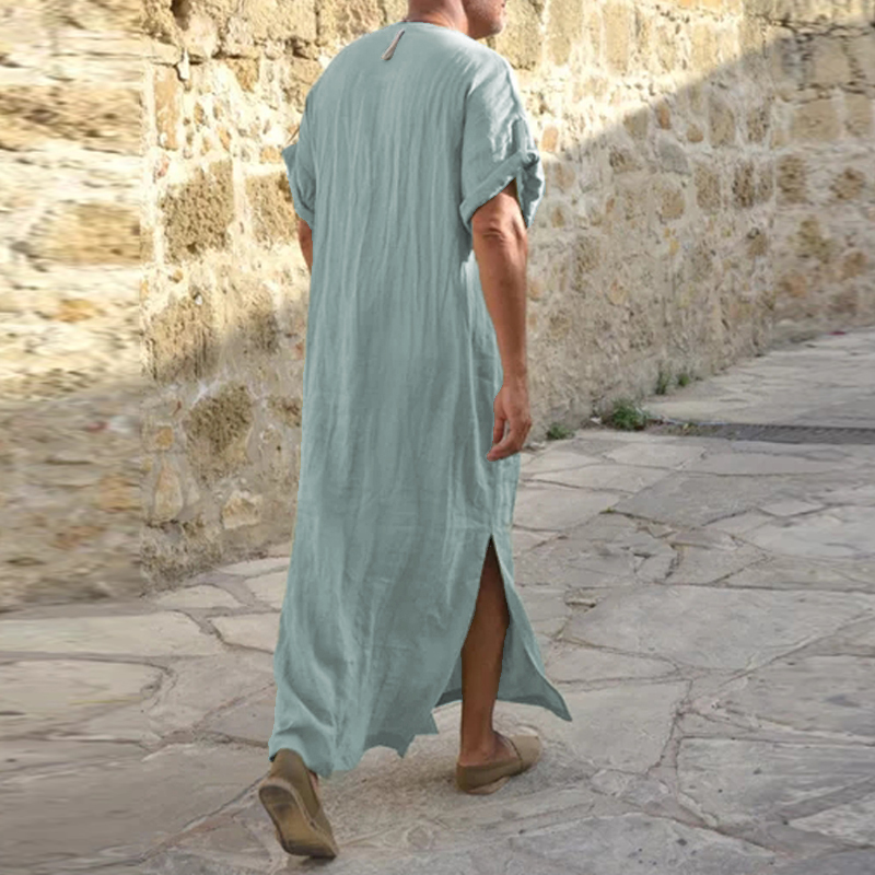 INCERUN Vintage Loose V Neck Splits Long Dress Tops Kaftan