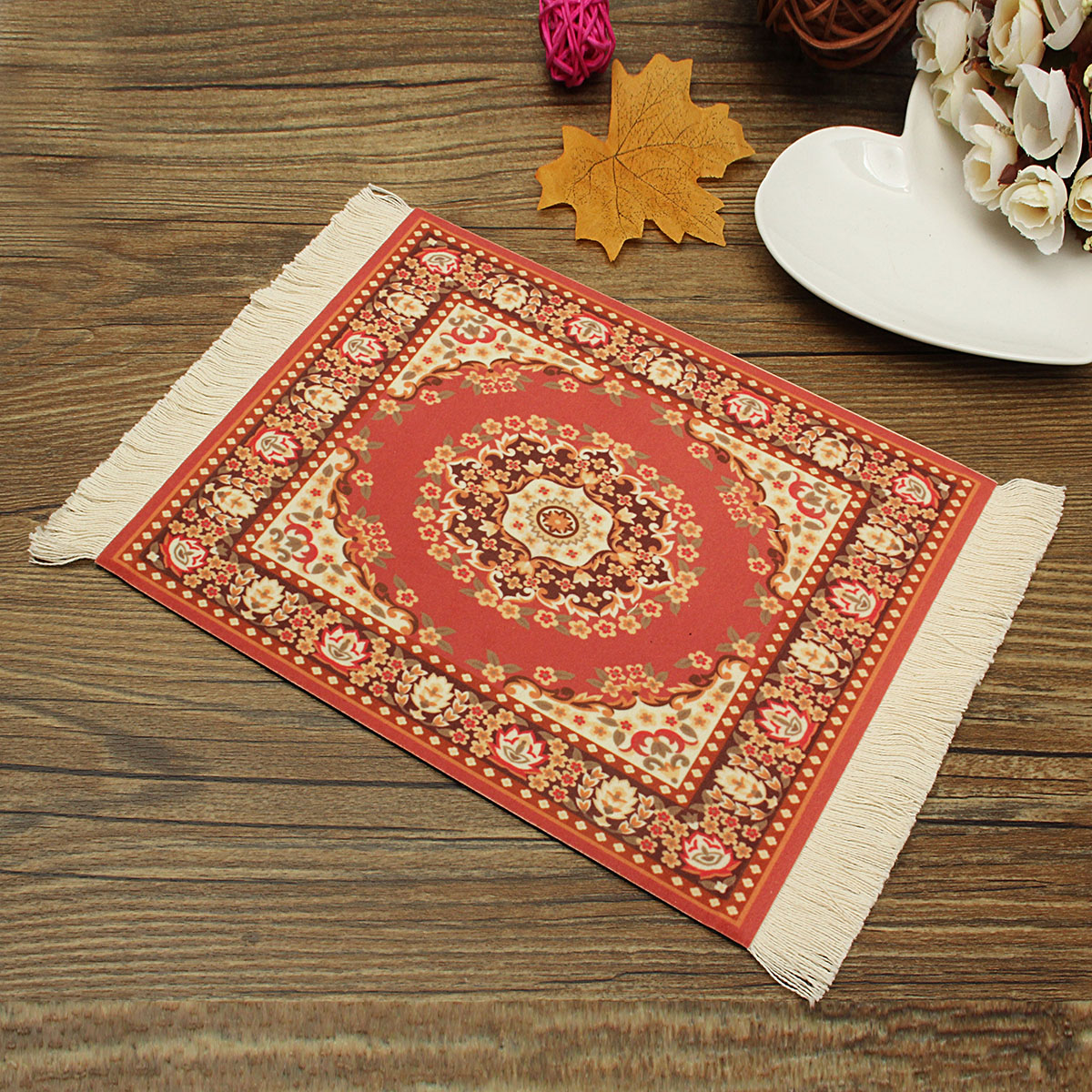 11''x7'' Persian Style Mini Woven Rug Mouse Pad Carpet Mouse Mat With Fringe