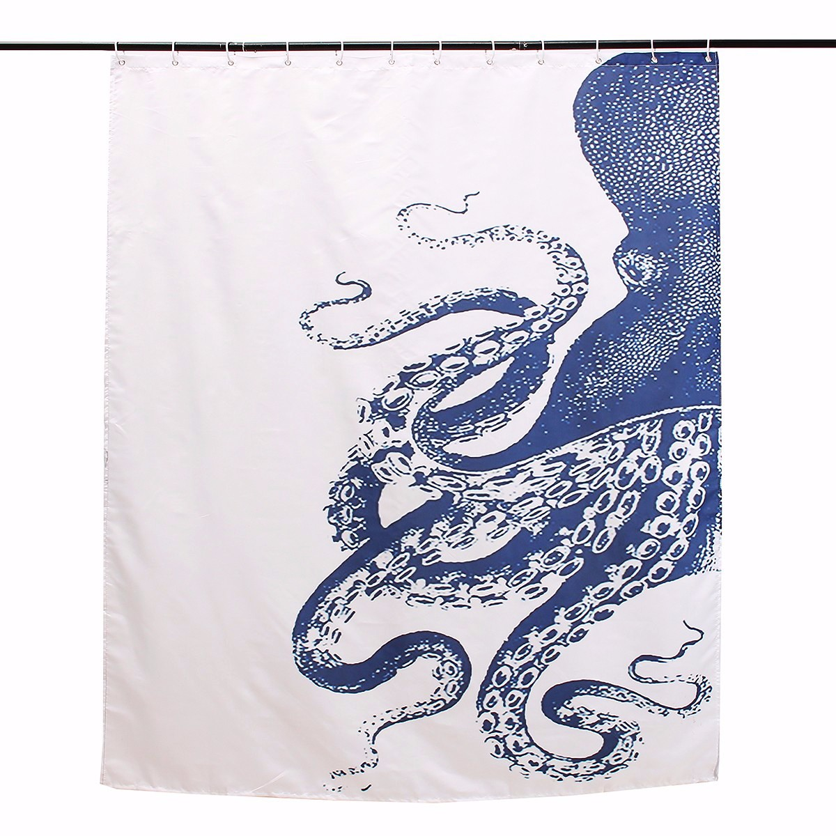 150x180cm Waterproof Halloween Octopus Polyester Shower Curtain Bathroom Decor with 12 Hooks