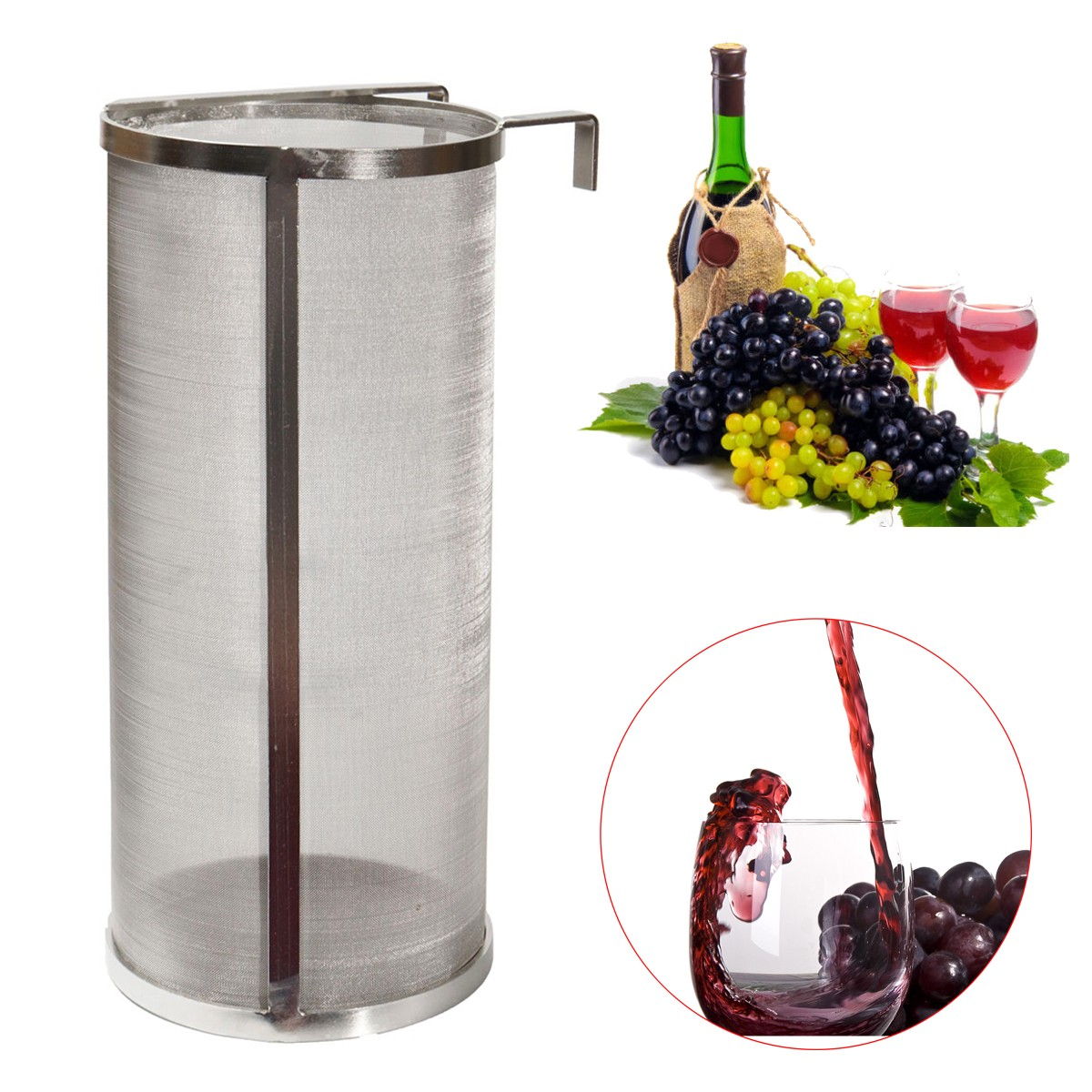 300 Micron Stainless Steel Hopper Homebrew Wine Beer Brew Hop Filter