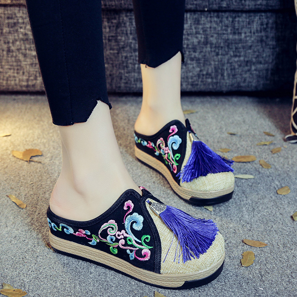 Women Fringe Flower Embroidery Comfortable Casual Sandals