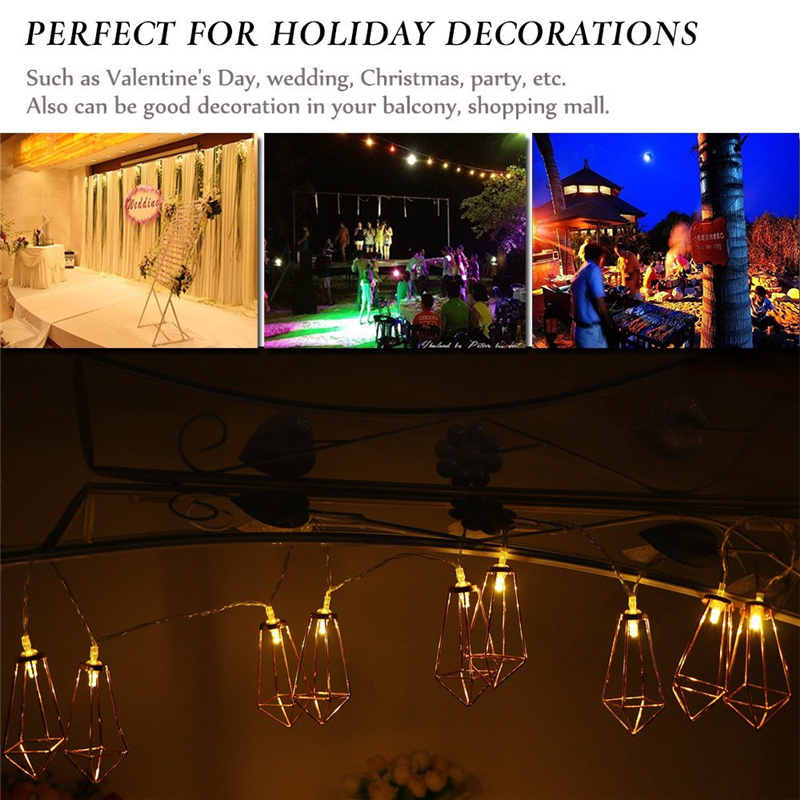 Battery Powered 1.8M 10LEDs Diamond Shaped Warm White Outdoor Fairy String Light For Christmas