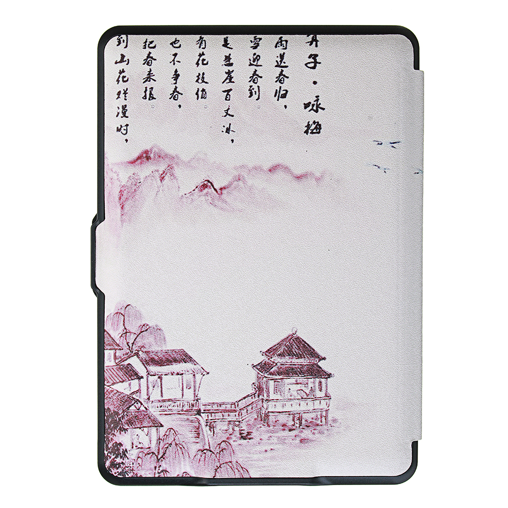 ABS Plastic Landscape Wintersweet Painted Smart Sleep Protective Cover Case For Kindle Paperwhite 1/2/3 eBook Reader