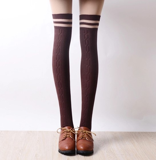 Vintage Women Winter Warm Stripes Cotton Stockings Sock