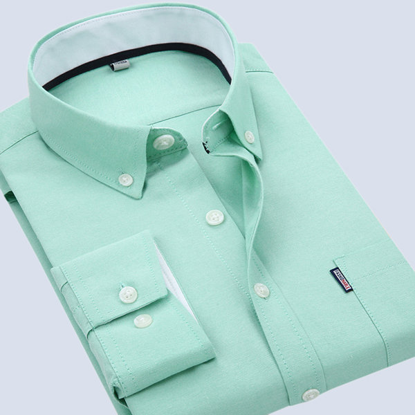 Mens Solid Color Turn-down Dress Casual Long Sleeve Fashion Business Cotton Shirt 7 Colors