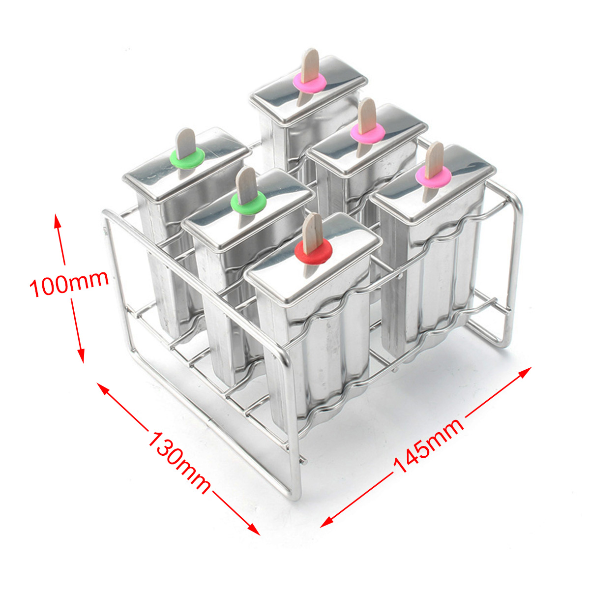 Stainless Steel Popsicle Mould Ice Pop Lolly Ice Cream Stick Holder 6 Molds