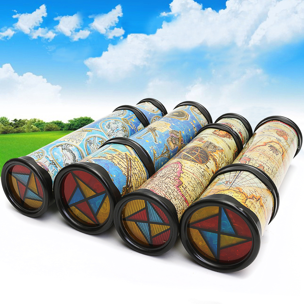 20/30cm Blue Yellow Magical Rotate Kaleidoscope Toy Extended Rotation Fancy Colored World Kids Toy