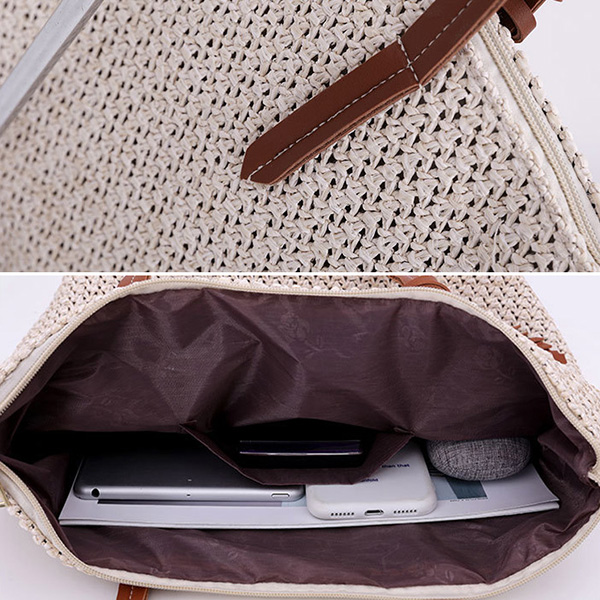Women Rattan Grass Beach Bag Designer Handbag Travel Bag