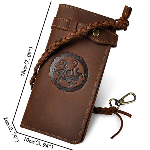 Men Genuine Leather Retro Long Wallet protective Rope Clutches Bag Phone Bag Card Holder