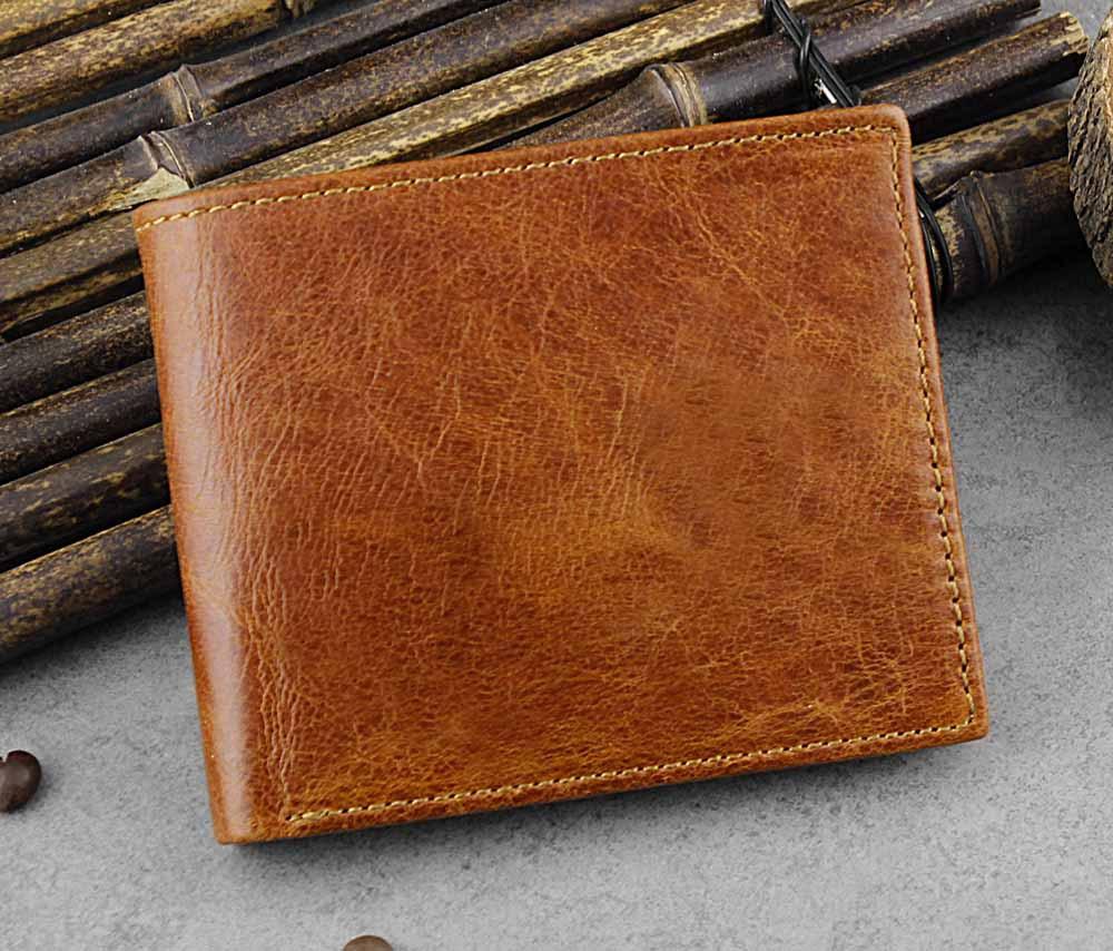 Men Genuine Leather Multi-Card Slots Short Wallet
