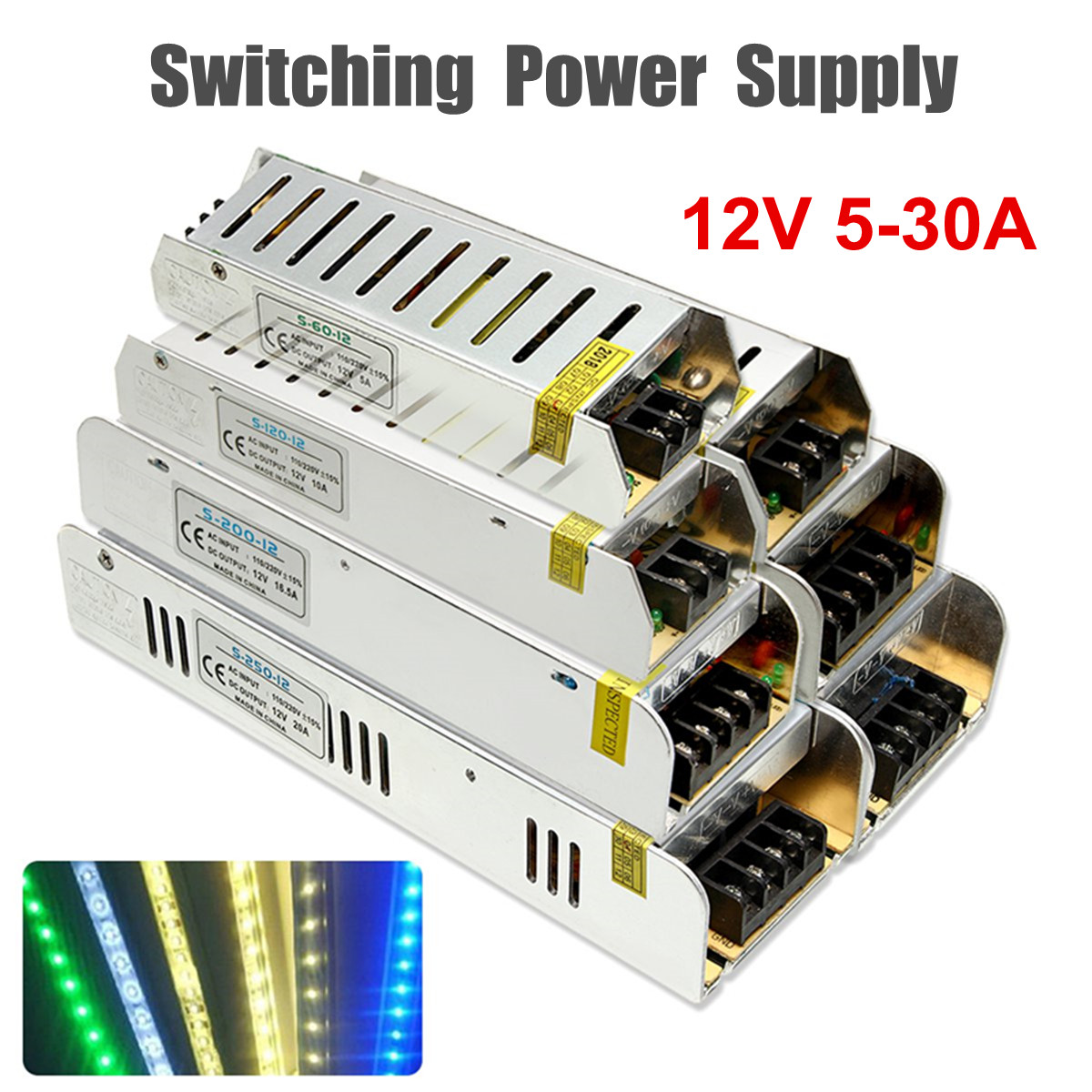 DC 12V 5-30A Sub-Mini Universal Regulated Switching Power Supply For LED Light