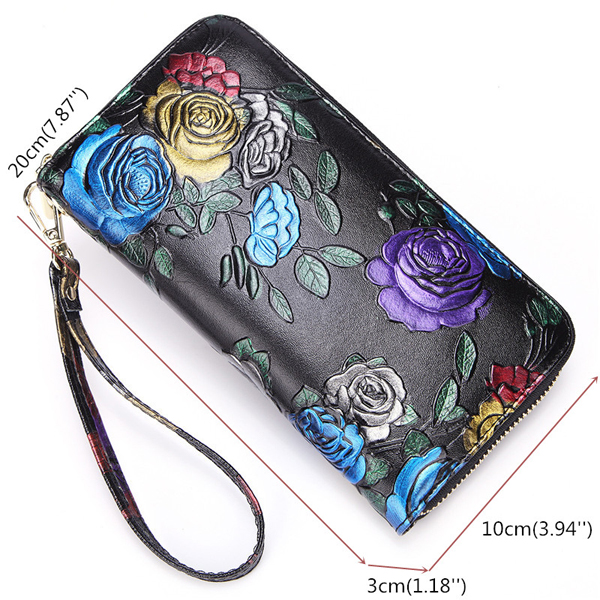 Brenice Women Cowhide Emossed Floral Clutch Bag Zipper Walle