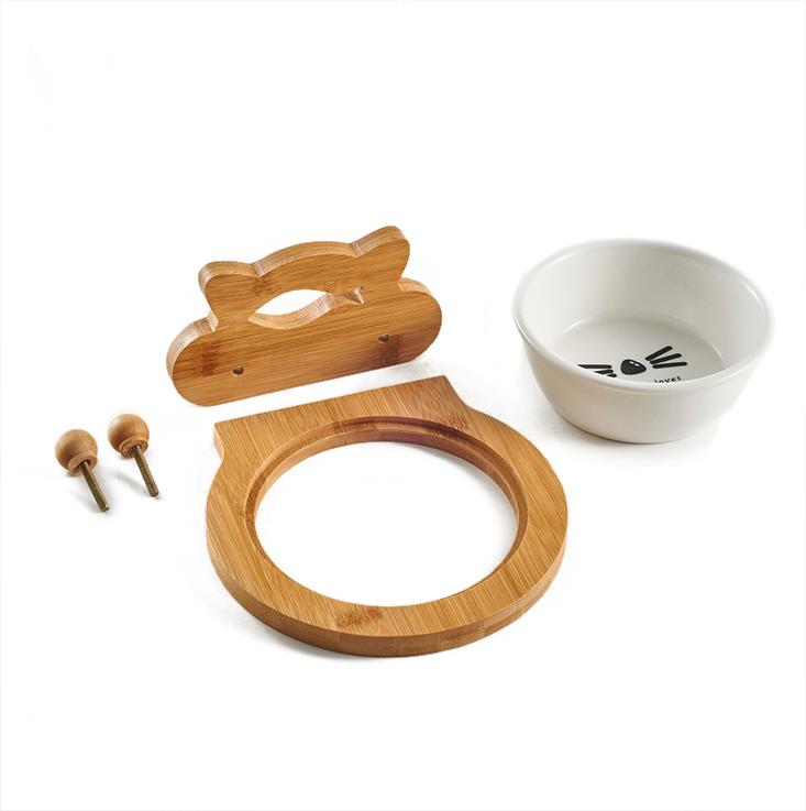 Ceramic Pet Bowl with Sturdy Bamboo Hanger for Pet Cage Pet Feeders Water Bowl