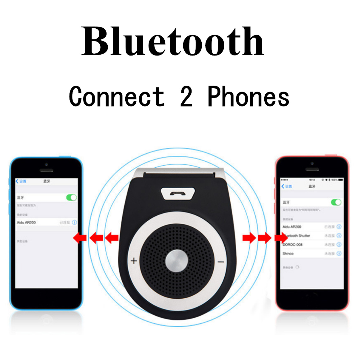 Wireless Car Kit bluetooth 4.1 EDR Hands Free Speaker Phone with Sun Visor Clip