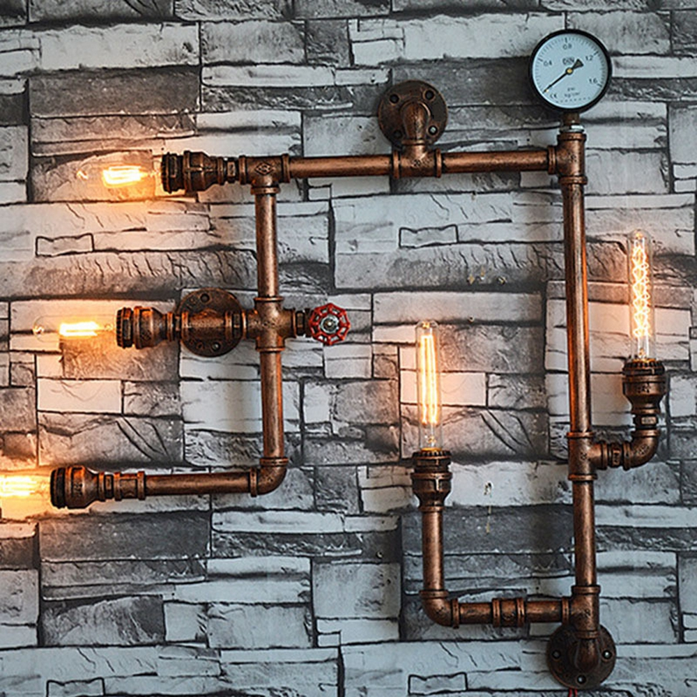 E27 5 Heads Water Pipe Steampunk Vintage Wall Lamp For Dining Room Bar Home Decoration Sconce