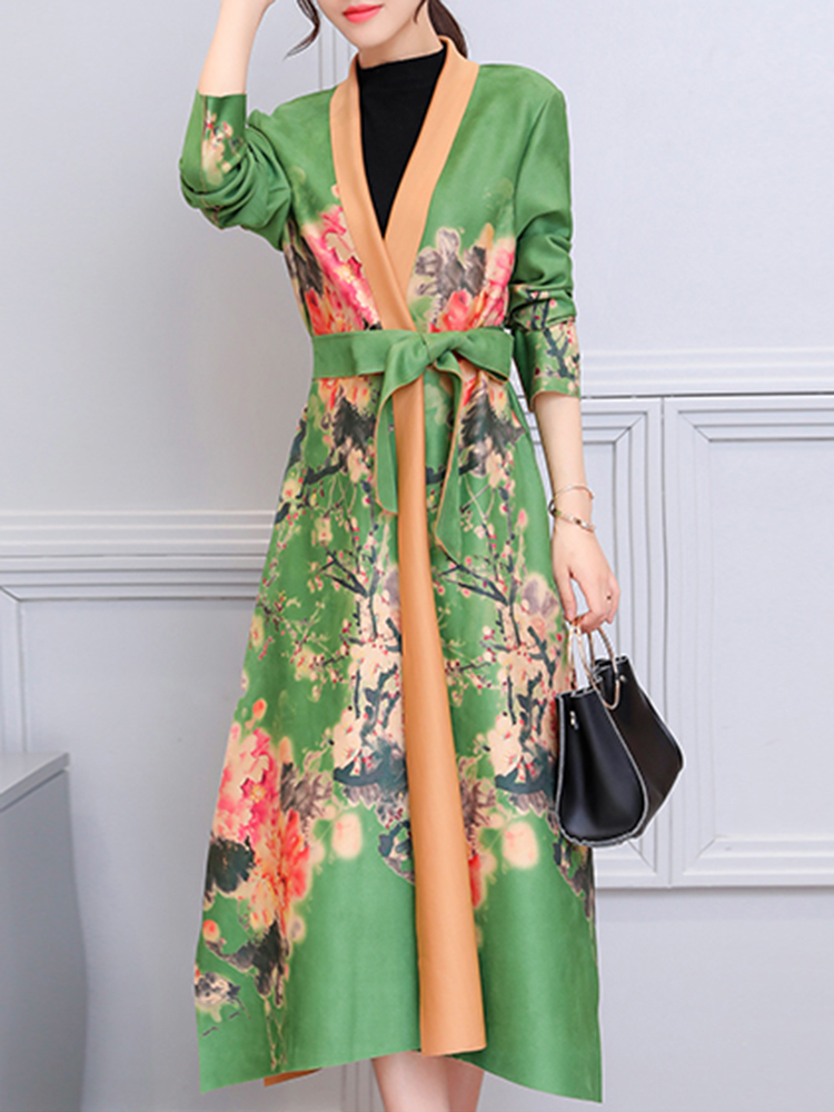 Floral Printed Suede Trench Coat