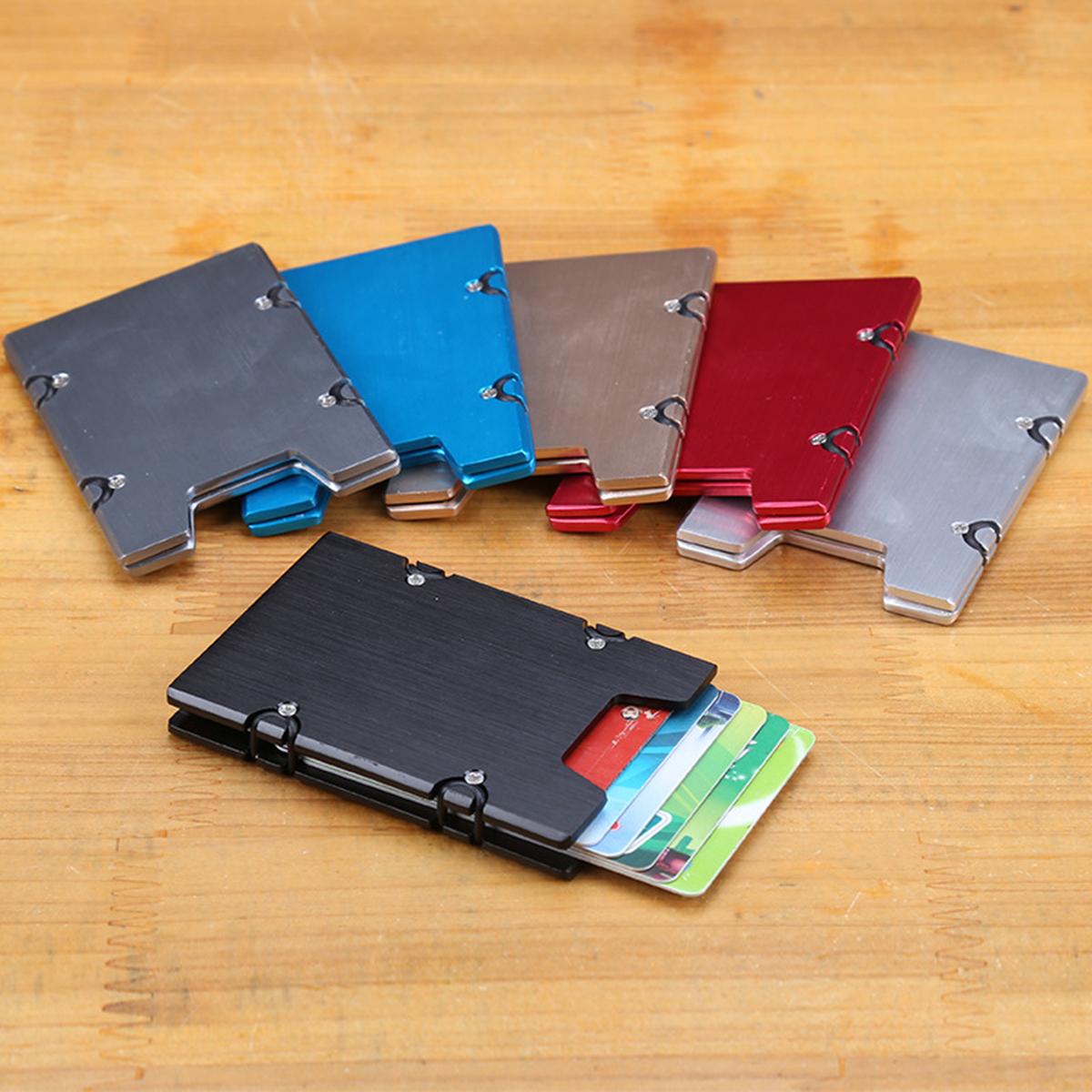 RFID Blocking Aluminum Alloy Slim Credit Card Holder Men Minimalist Wallet Case