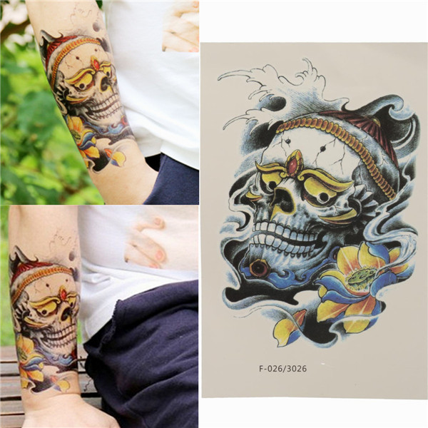Colorful Skull Temporary Tattoos Waterproof Removable Body Arm Leg Art Tattoo Stickers