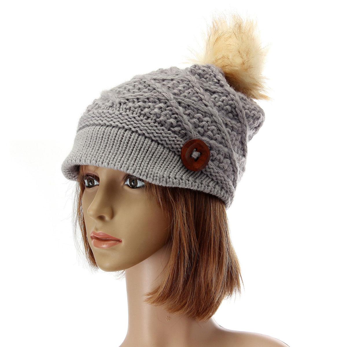 Women Ladies Button Crochet Knit Beret Hat Ski Baggy Beanie Ball Woolen Cap