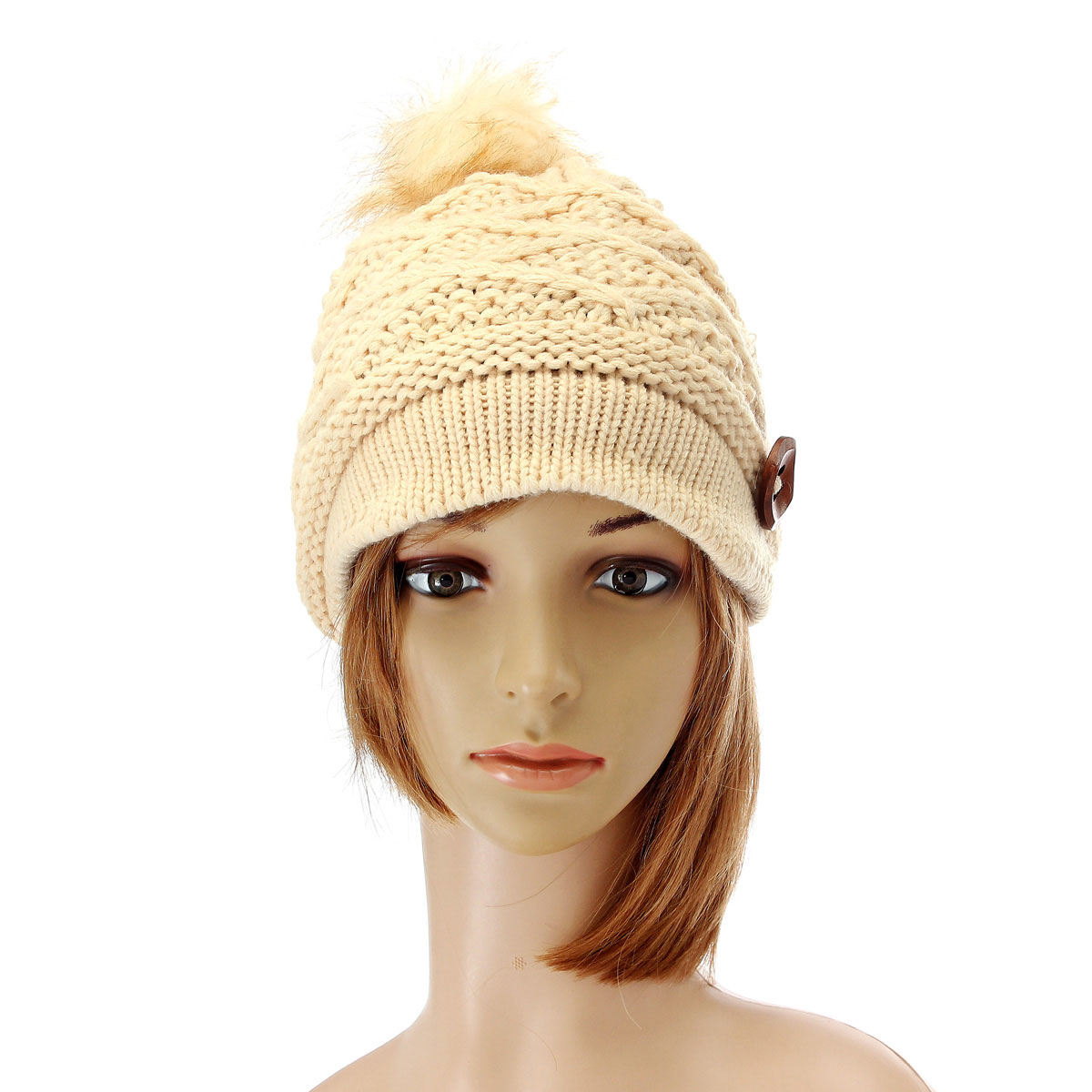 Women Ladies Button Crochet Knit Beret Hat Ski Baggy Beanie Ball Woolen Cap