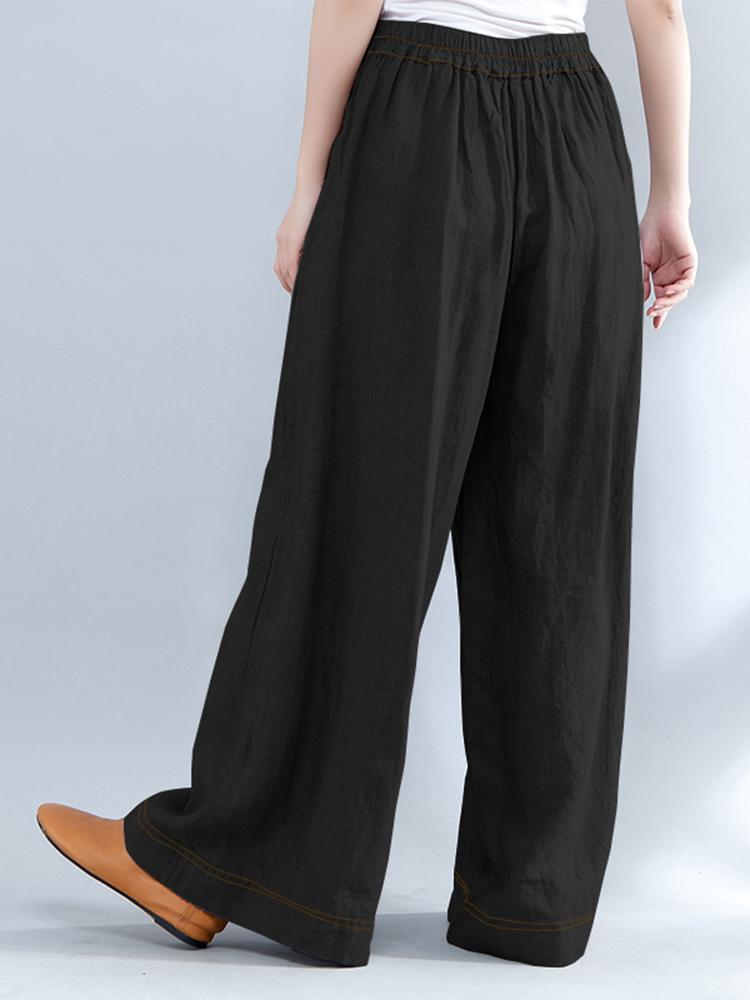Women Elastic Waist Loose Wide Leg Pants with Zipper