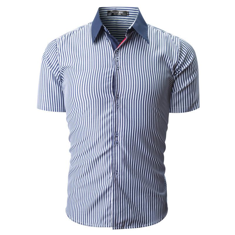 Summer Fashion Business Stripe Printing Short Sleeve Shirt
