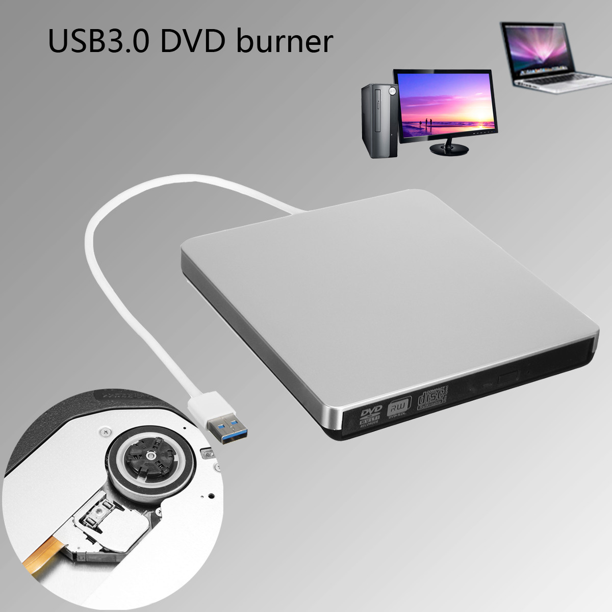 External USB 3.0 DVD CD-RW Drive Writer Burner DVD Player Optical Drives For Laptop Desktop PC