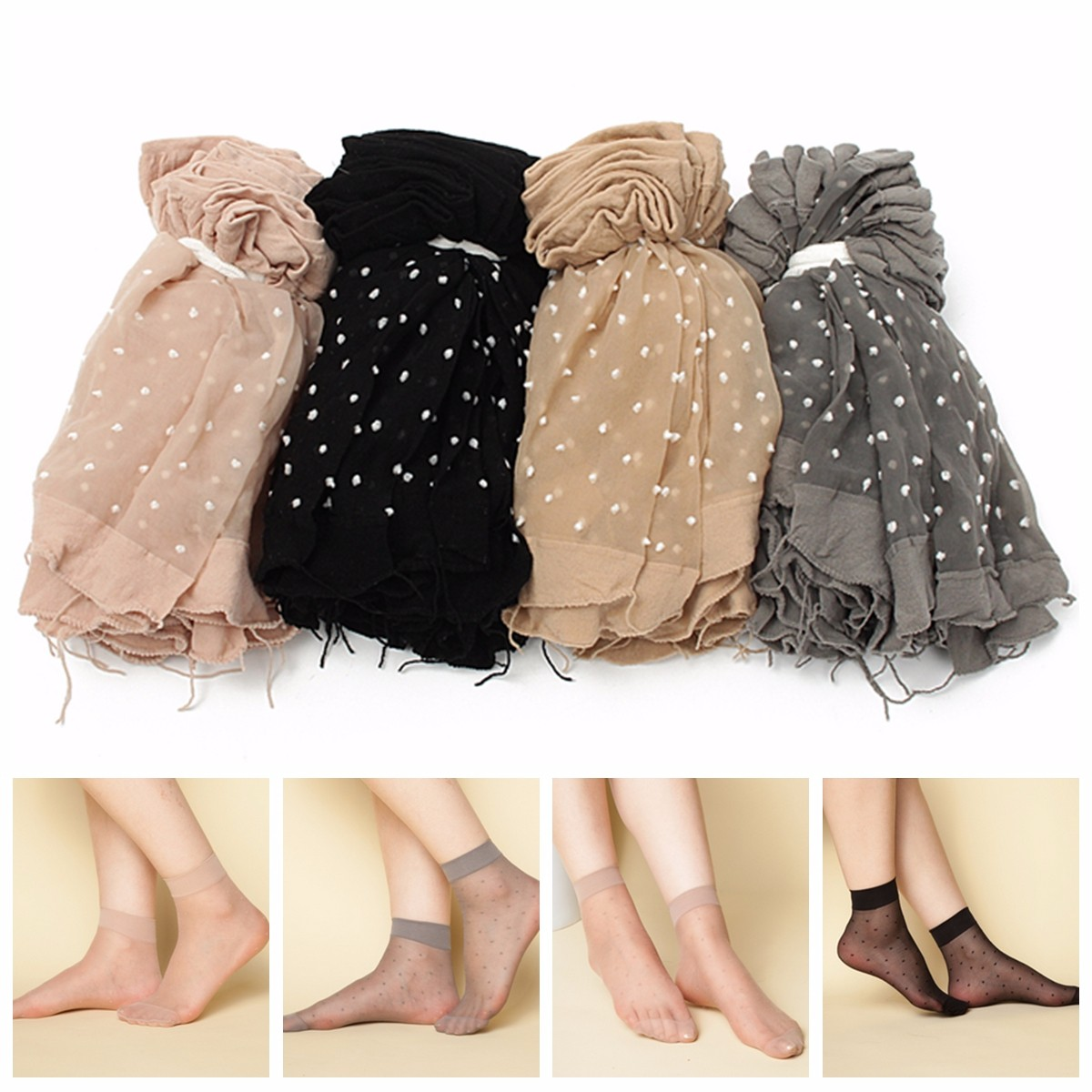 10Pairs Women Girls Transparent Polka Dot Socks Lace Ultra Thin Fiber Sheer Ankle Hosiery