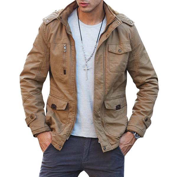 Mens Big Size Hooded Solid Color Multi Pockets Biker Jacket Outdoor Casual Coat