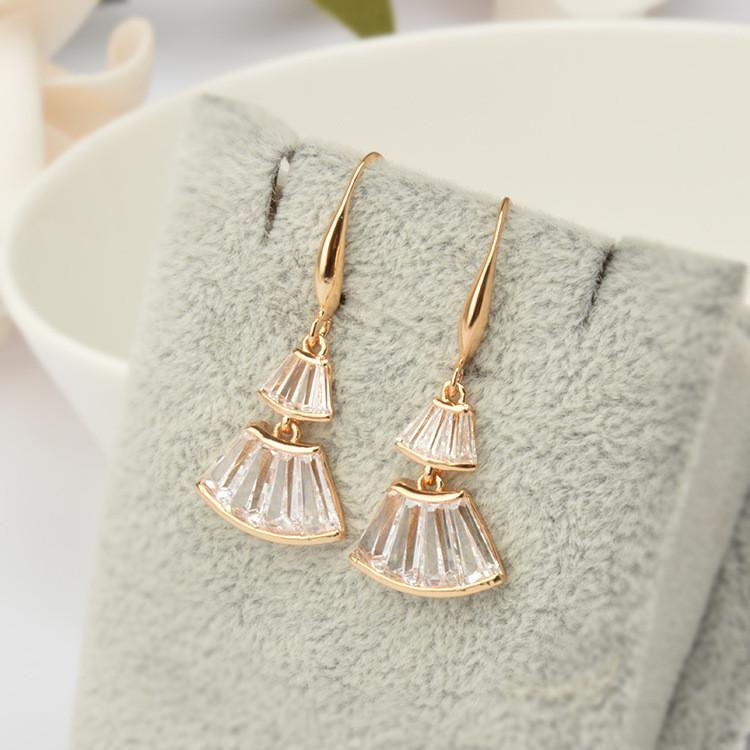 Gold Zircon Ear Drop Fan Shaped Skirt Earrings Gift For Women
