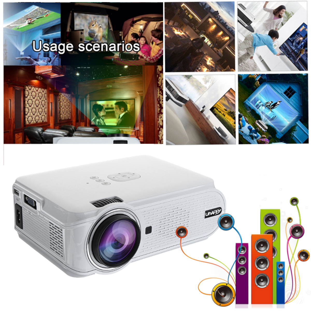 Uhappy U90 2000 Lumens 1080P HD 3D Android 6.0 bluetooth 4.0 LED White Projector Home Theater Cinema