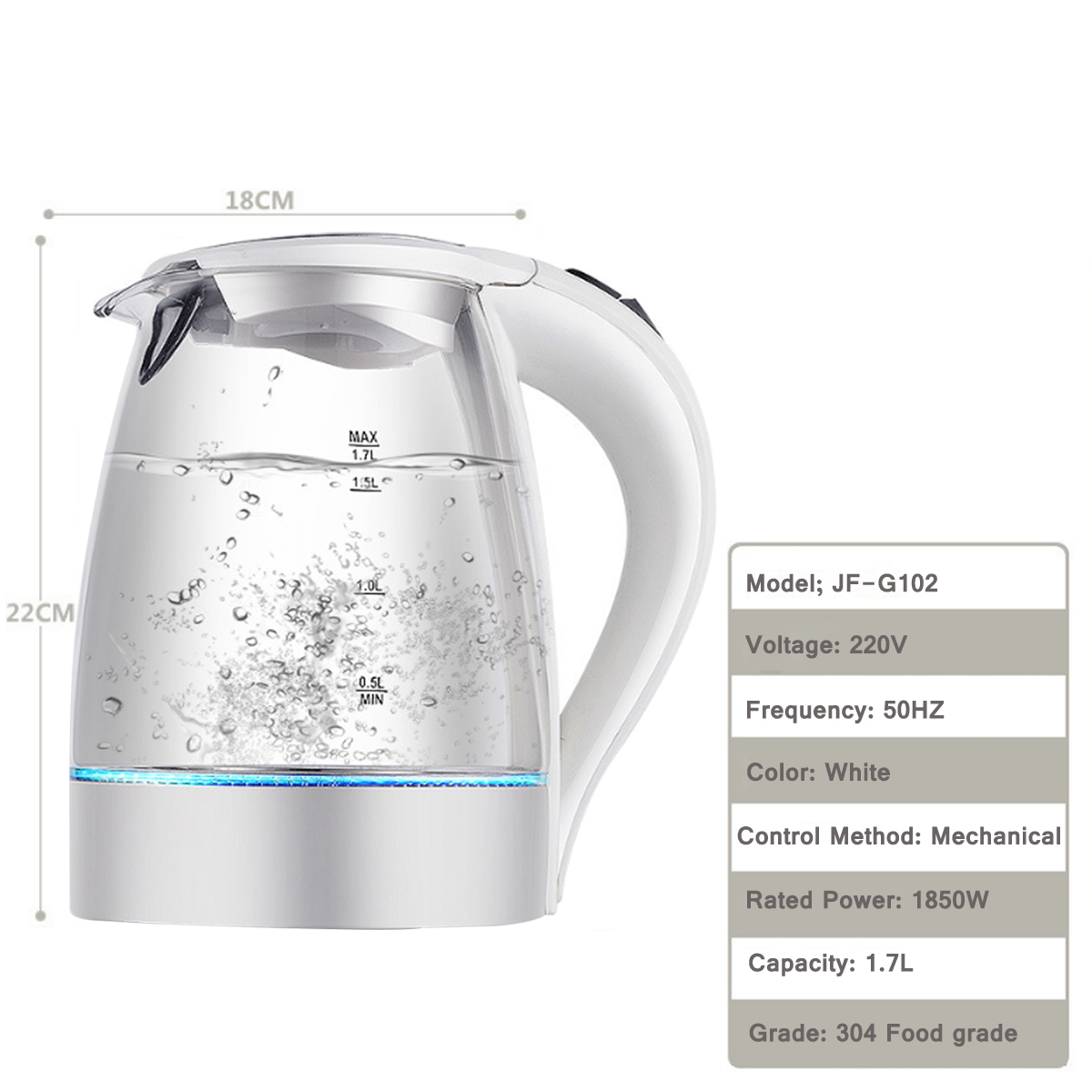 1.7L 1850W Blue LED Illuminated Glass Kettle Electric Rapid Boil 360° Cordless Electric Kettle