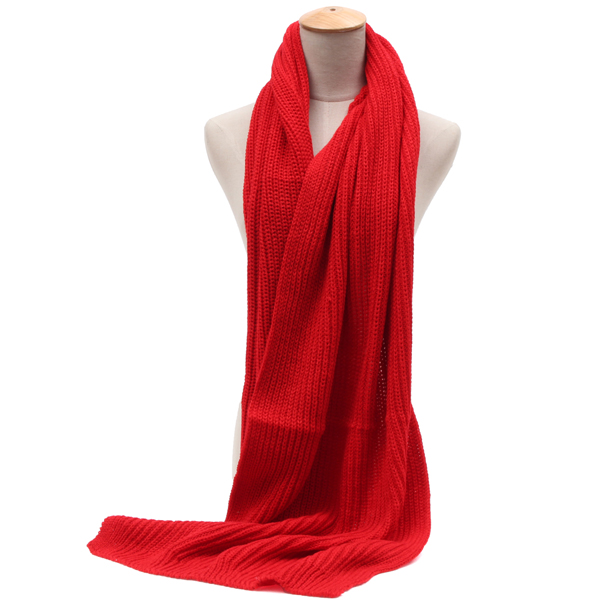 Men Women Solid Knitting Scarf Long Scarves Collar Neck Shawls