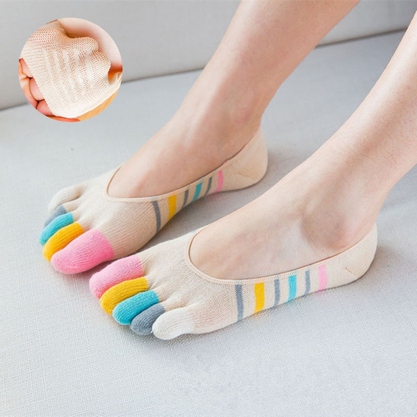 Women Ladies Five-toes Colorful Boat Sock Breathable Anti Skid Invisibility Socks Comfortable