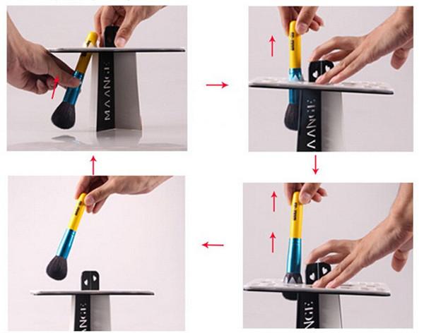 42 Holes Black Acrylic Makeup Brush Rack Holder Eyeshadow Nail Art Brushes Dryer Organizer Stand