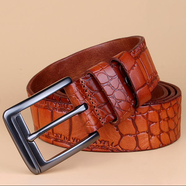 125CM Mens Crocodile Pattern Business Leather Belt Casual Pin Buckle Waistband Belt