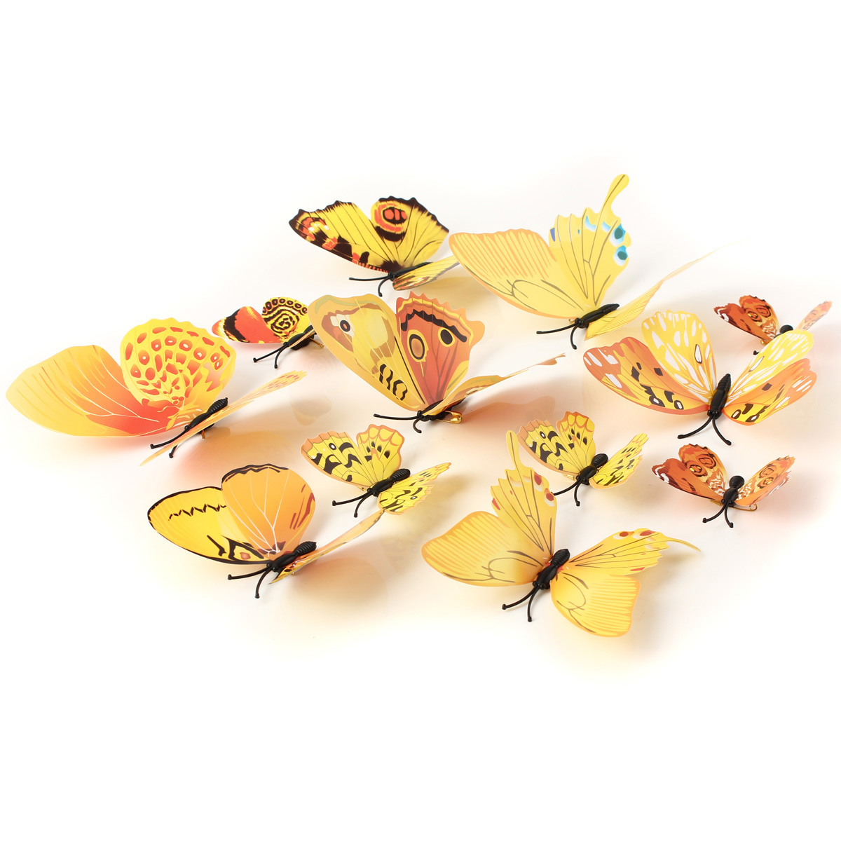 12Pcs 3D Yellow Butterfly Wall Stickers Art Decals Home Wedding Party Decoration