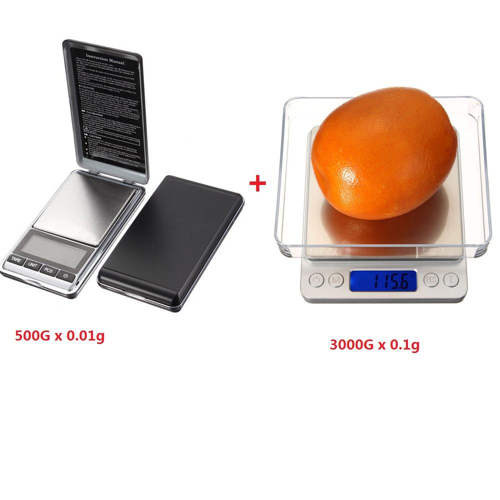 2pcs DANIU 3000g 0.1g Digital Pocket Scale+DANIU Electronic Pocket Mini Digital Gold Jewelry Weighing Scale 500g 0.01g