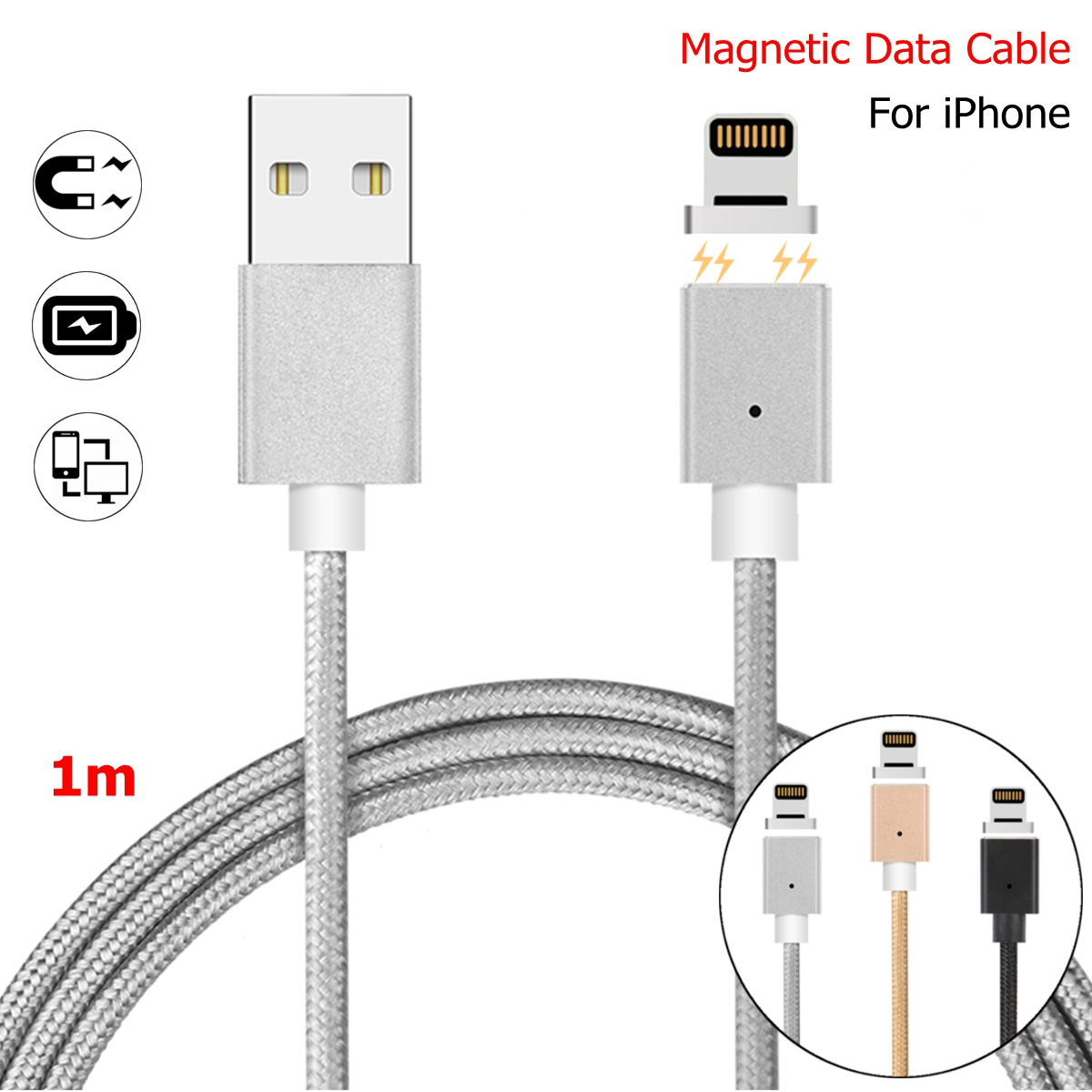 Bakeey Magnetic USB Fast Charging Charger Cable Adapter Cord For iPhone X 8/8Plus ipad