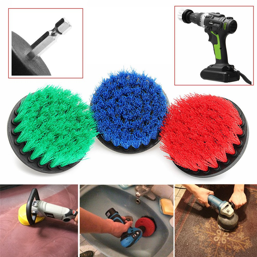 4 Inch Electric Drill Cleaning Brush Power Scrubber Tub Cleaning Brush Red/Blue/Green