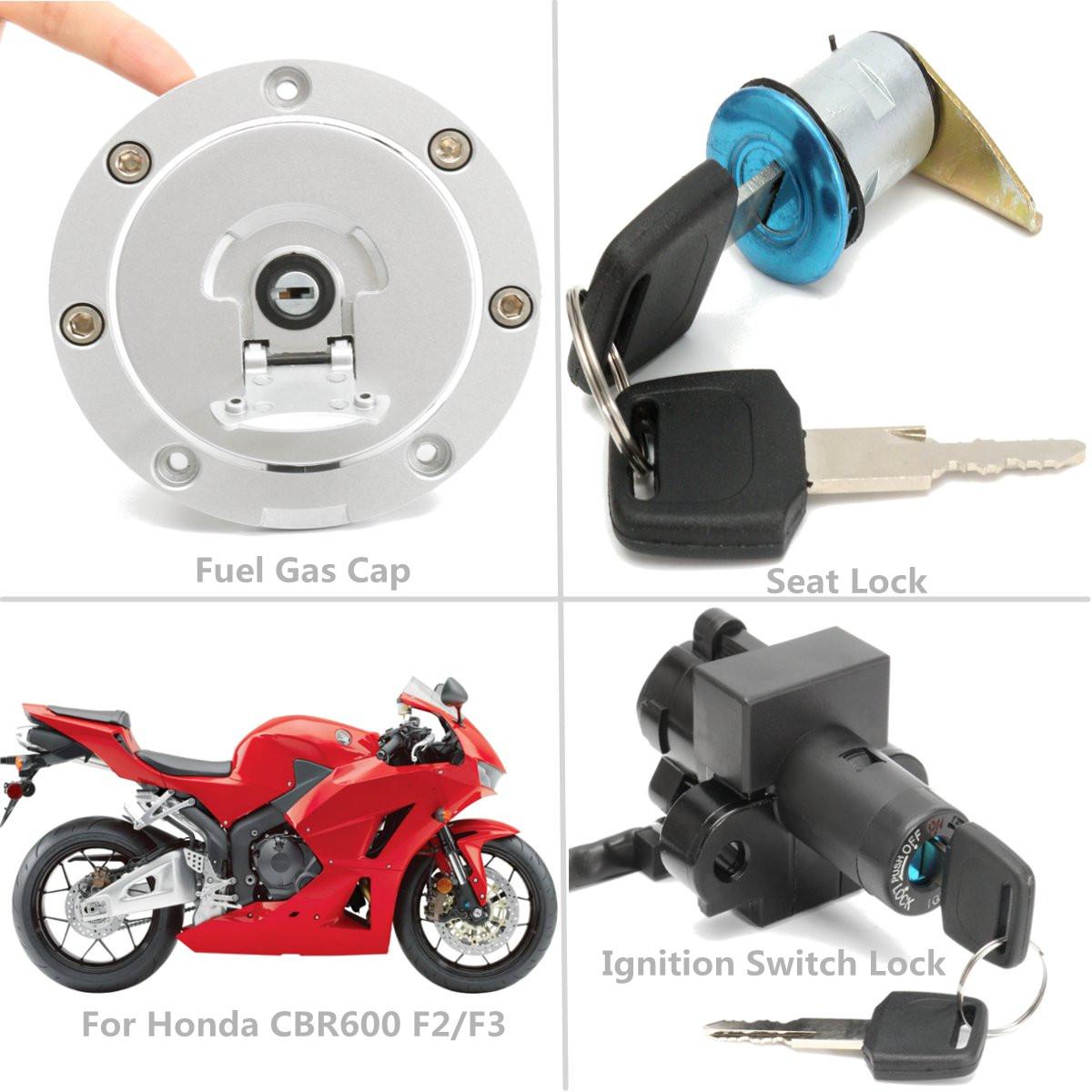 Aluminum Ignition Switch Lock Fuel Gas Cap Key Set For Honda Cbr600