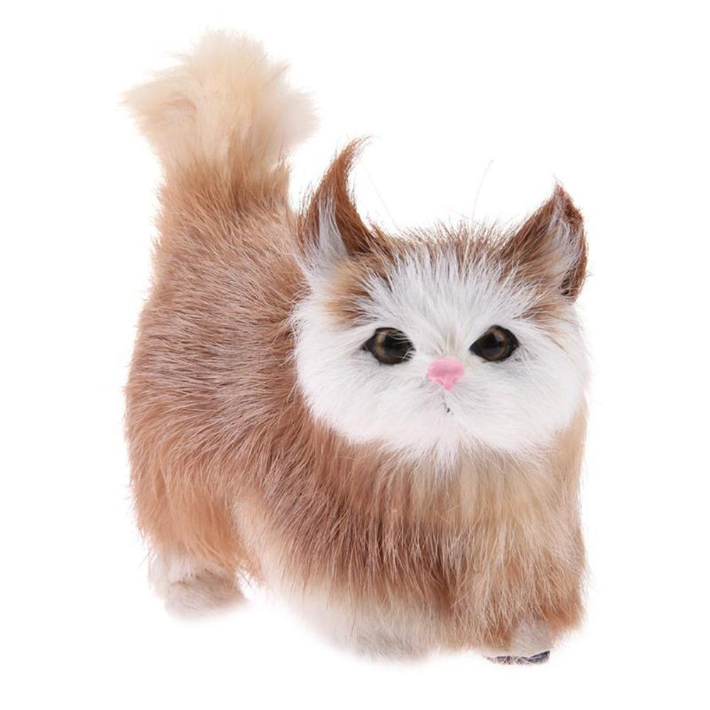 Cute Cat Lifelike Miaow Simulation Kitty Stuffed Plush Toy Realistic Home Desk Decoration